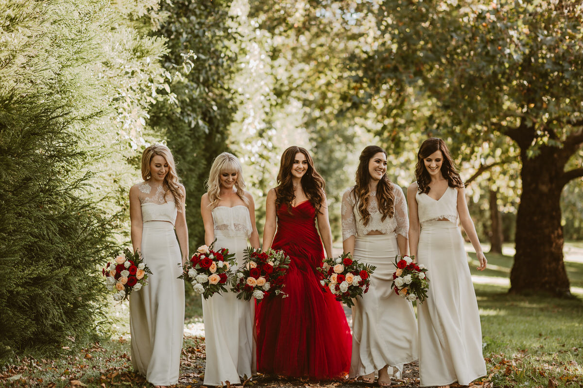 red, gown, wedding, dress