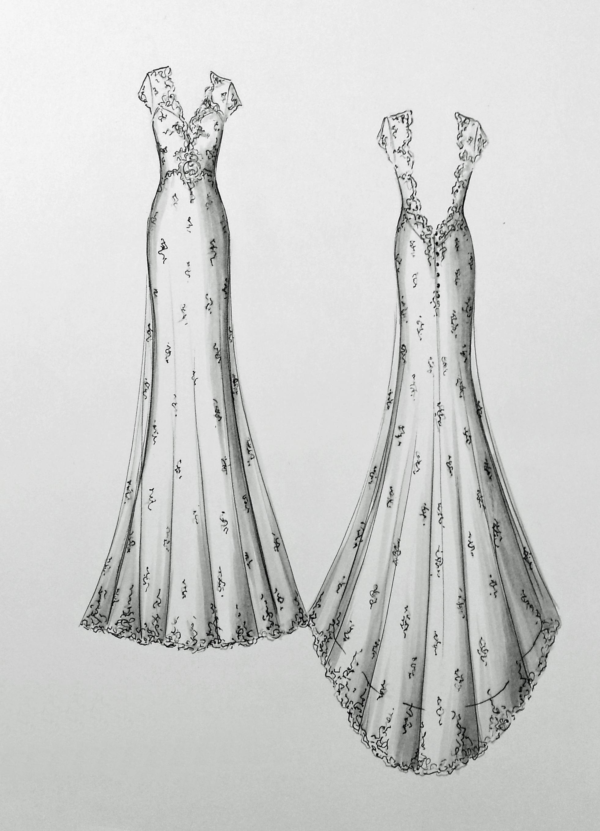Эскизы свадебного платья картинки